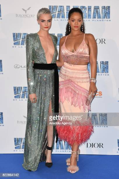 Barbadian singer Rihanna and Cara Delevingne attend the premiere of 'Valerian and the City of a Thousand Planets' at City of Cinema in SaintDenis...