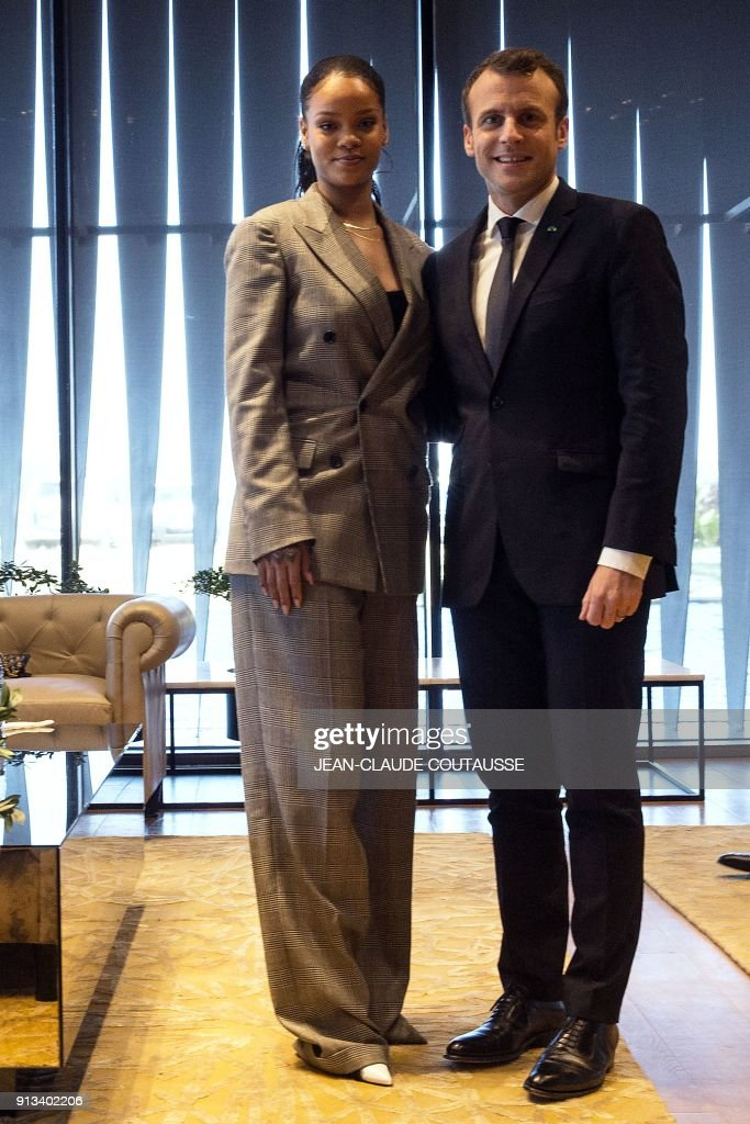 Barbadian Singer Rihanna And French President Emmanuel Macron Pose A News Photo Getty Images