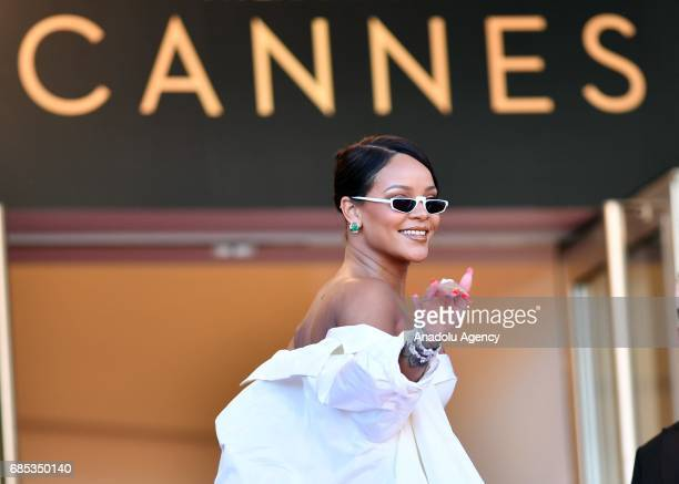 Barbadian singer Rihanna arrives for the screening of the film 'Okja' in competition at the 70th annual Cannes Film Festival in Cannes France on May...