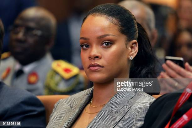 Barbadian singer Rihanna attends the conference 'GPE Financing Conference an Investment in the Future' organised by the Global Partnership for...