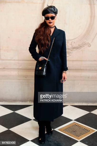 Barbadian singer Rihanna poses during the photocall before the Christian Dior women's FallWinter readytowear collection fashion show in Paris on...