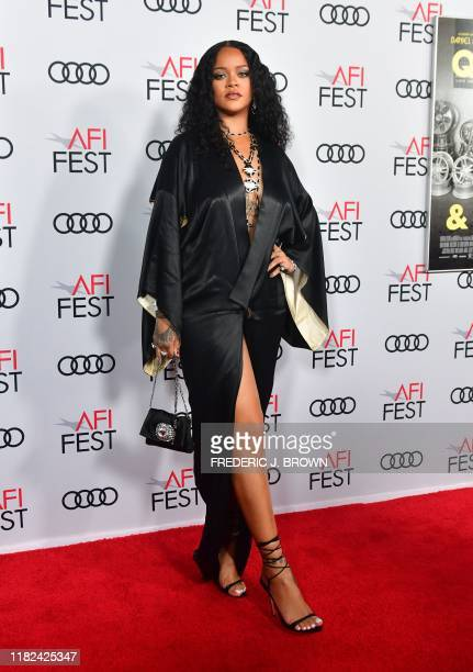 """Barbadian singer/actress/designer Rihanna arrives for the AFI Opening Night Gala premiere of """"Queen & Slim"""" at the TCL Chinese Theatre on November..."""