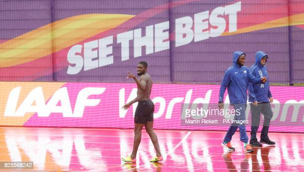 Barbados' Burkheart Ellis and USA's LaShawn Merritt on the warm up track at the London Stadium ahead of the IAAF World Championships which starts on...