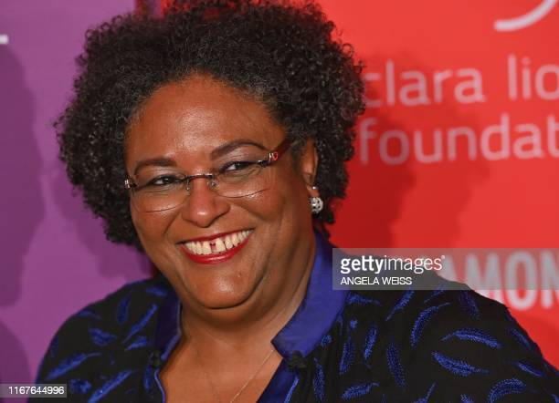 Barbados Prime Minister Mia Mottley arrives for Rihanna's 5th Annual Diamond Ball Benefitting The Clara Lionel Foundation at Cipriani Wall Street on...