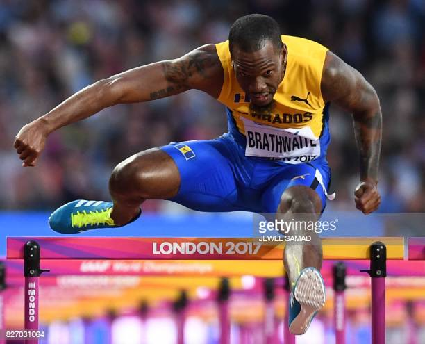 Barbados' Shane Brathwaite competes in the semifinals of the men's 110m hurdles athletics event at the 2017 IAAF World Championships at the London...