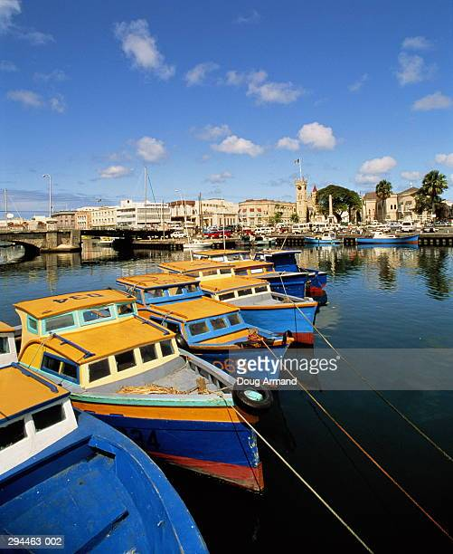 barbados,bridgetown,boats in foreground - bridgetown barbados stock pictures, royalty-free photos & images