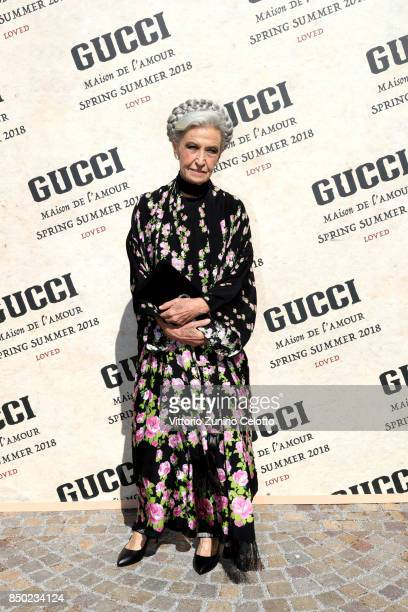 Barbara Alberti arrives at the Gucci show during Milan Fashion Week Spring/Summer 2018 on September 20 2017 in Milan Italy
