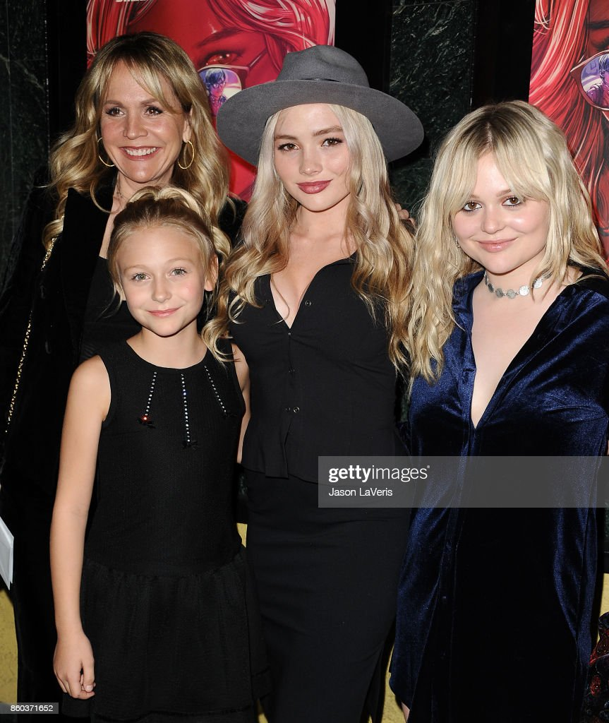 Barbara Alyn Woods, Alyvia Alyn Lind, Natalie Alyn Lind and Emily Alyn Lind attend the premiere of 'The Babysitter' at the Vista Theatre on October 11, 2017 in Los Angeles, California.
