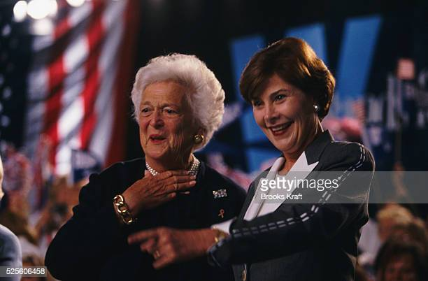 Barbara and Laura Bush while on the campaign trail for George W Bush