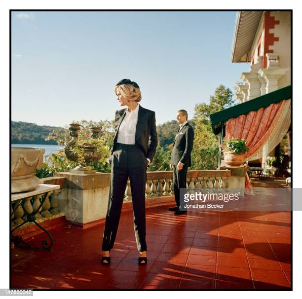 Barbara and Peter Regna are photographed for Town & Country Magazine on September 8, 2011 at their home, the Hacienda, built in 1900, in Tuxedo Park,...