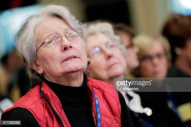 Barbara Ann Dodge of Manassas Va listens intently to US Rep Michele Bachmann speaks during the 41st annual Conservative Political Action Conference...