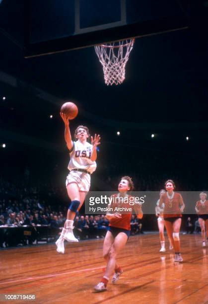 Barbara Ann Sipes of the United States goes for the layup during an International game against the USSR circa 1959 at the Madison Square Garden in...