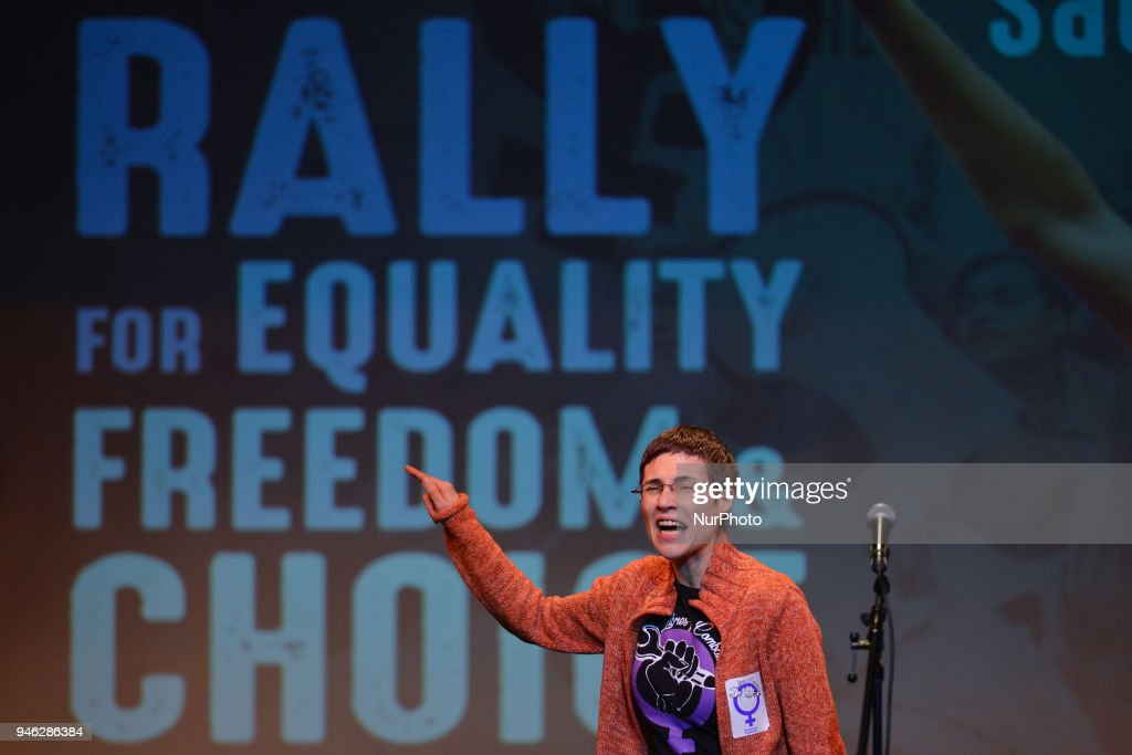 Barbara Areal, a Spanish activist from Libres u Combativas, speaks during a Rally for Equality, Freedom & Choice organised by ROSA - an Irish Socialist Feminist Movement at Liberty Hall in Dublin. On Saturday, April 14, 2018, in Dublin, Ireland.
