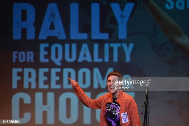 Barbara Areal a Spanish activist from Libres u Combativas speaks during a Rally for Equality Freedom amp Choice organised by ROSA an Irish Socialist...