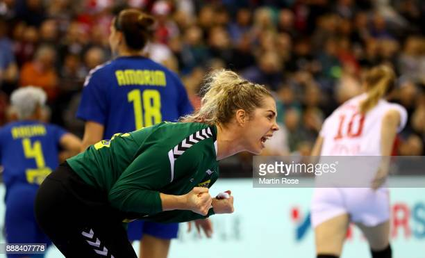 Barbara Arenhart goalkeeper of Brazil celebrates during the IHF Women's Handball World Championship group C match between Brazil and Montenegro at...