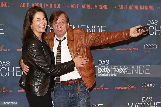 Barbara Auer and Sylvester Groth attend the 'Das Wochenende' Premiere at Kino International on April 4 2013 in Berlin Germany