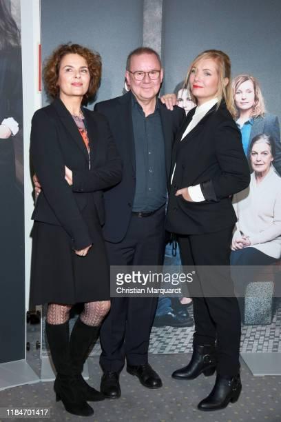 "Barbara Auer, Joachim Kroel and Nadjy Uhl attend the premiere of the movie ""Der Preis der Freiheit"" at Stasi Zentrale on October 31, 2019 in Berlin,..."
