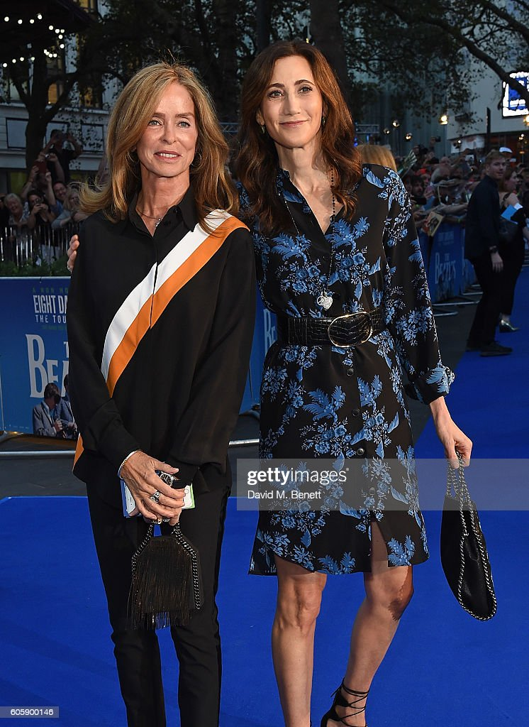 Barbara Bach and Nancy Shevell attend the World Premiere of 'The Beatles: Eight Days A Week - The Touring Years' at Odeon Leicester Square on September 15, 2016 in London, England.
