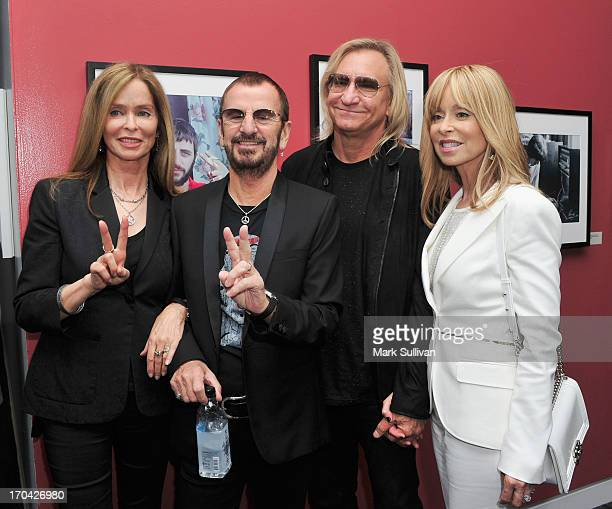 Barbara Bach Ringo Starr guitarist Joe Walsh and Marjorie Bach pose during Ringo Peace Love exhibit VIP launch event at The GRAMMY Museum on June 12...