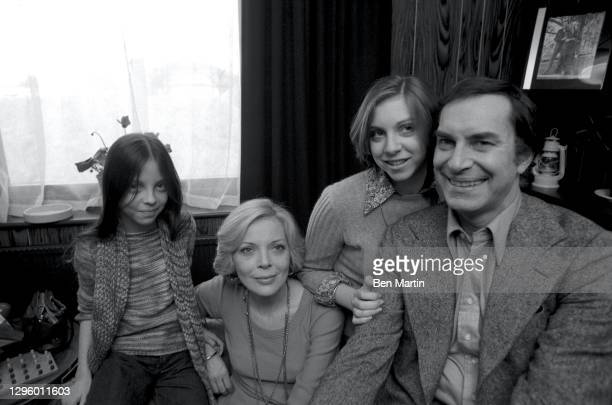 Barbara Bain and Martin Landau with daughters Susan and Juliet at home in Chester Square, London, June 1976.