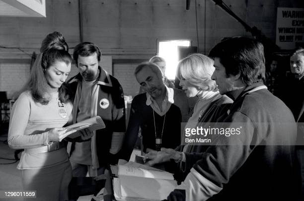 Barbara Bain as Dr Helena Russell and Martin Landau as Commander John Koenig with cast members Tony Anholt as Tony Verdeschi , Catherine Schell as...