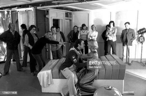 Barbara Bain as Dr Helena Russell and Martin Landau as Commander John Koenig with director Bob Brooks and cinematographer Frank Watts on set...