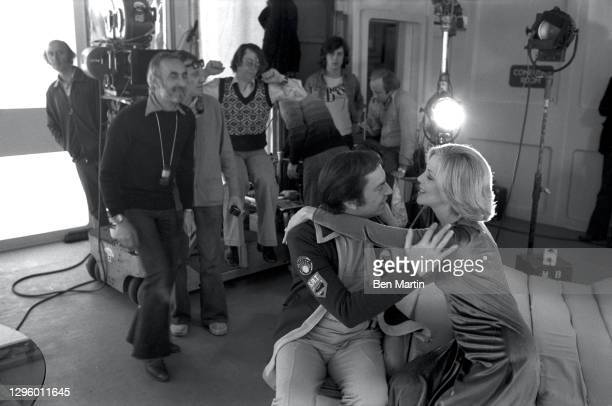 Barbara Bain as Dr Helena Russell and Martin Landau as Commander John Koenig and director Bob Brooks on set rehearsing The Taybor episode of Space...