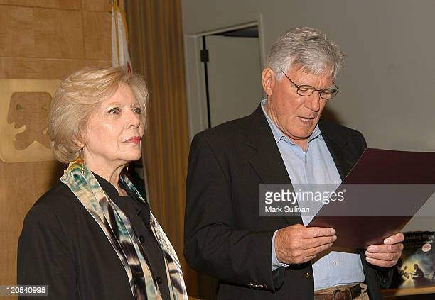 Barbara Bain listens as Mitchell Ryan reads Los Angeles City Council Proclamation to Barbara Bain for her service