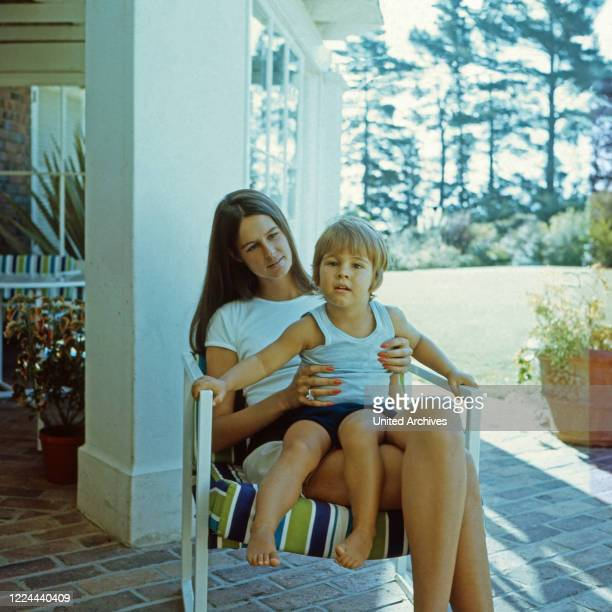 Barbara Barnard nee Zoellner with son Frederick at the terrace of villa Waiohai in Cape Town South Africa 1974