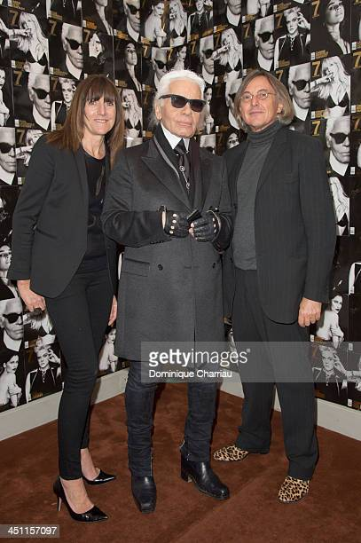 Barbara Baumel Karl Lagerfield and Pierre Pasebon attend the '7Hollywood Fantasy Issue' launch at Galerie Pierre Passebon on November 21 2013 in...