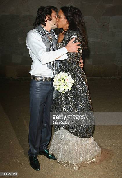 Barbara Becker and Arne Quinze arrive for their wedding party at Belvedere Palace on September 12 2009 in Potsdam Germany