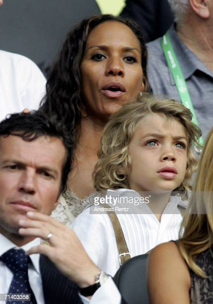 Barbara Becker and her son Elias Becker watch the action during the FIFA World Cup Germany 2006 Final match between Italy and France at the Olympic...