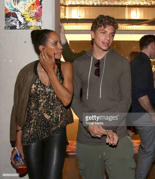 Barbara Becker and Jher son Elias Becker during the Noah Becker 'Bake all Day' Vernissage on June 22 2017 in Hamburg Germany