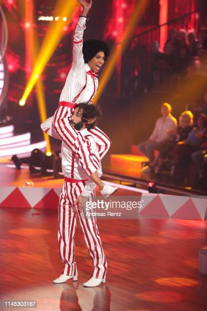 """Barbara Becker and Massimo Sinato perform on stage during the 5th show of the 12th season of the television competition """"Let's Dance"""" on April 26,..."""