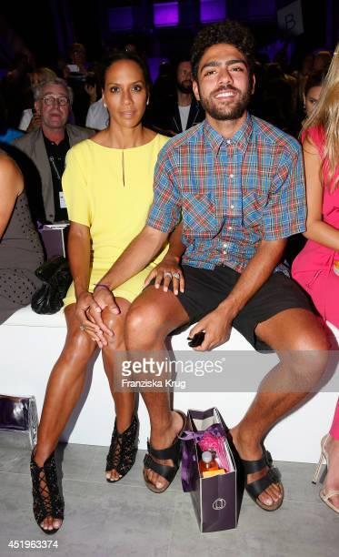 Barbara Becker and Noah Becker attend the Laurel show during the MercedesBenz Fashion Week Spring/Summer 2015 at Erika Hess Eisstadion on July 10...