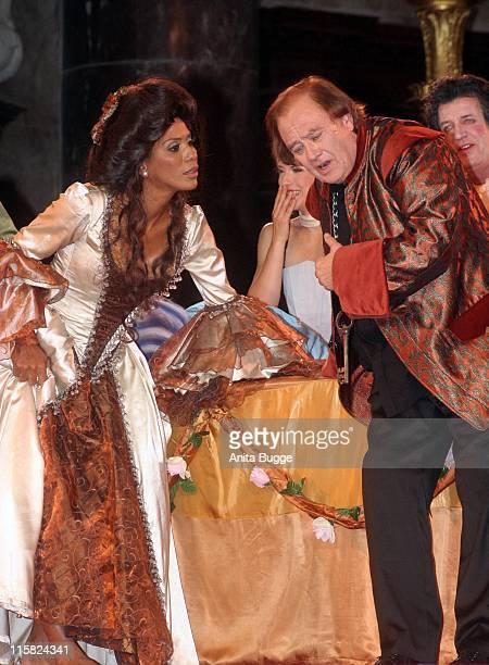 "Barbara Becker and Rene Kollo during ""Jedermann"" Dress Rehearsal - October 16, 2006 at Berliner Dom in Berlin, Berlin, Germany."