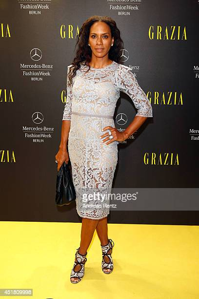 Barbara Becker arrives for the Opening Night by Grazia fashion show during the MercedesBenz Fashion Week Spring/Summer 2015 at Erika Hess Eisstadion...