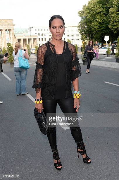 Barbara Becker attends the MercedesBenz Fashion Week Berlin Spring/Summer 2014 Preview Show by Grazia at the Brandenburg Gate on July 1 2013 in...