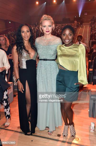 Barbara Becker Franziska Knuppe and Nikeata Thompson during the GreenTec Awards at ICM Munich on May 13 2018 in Munich Germany