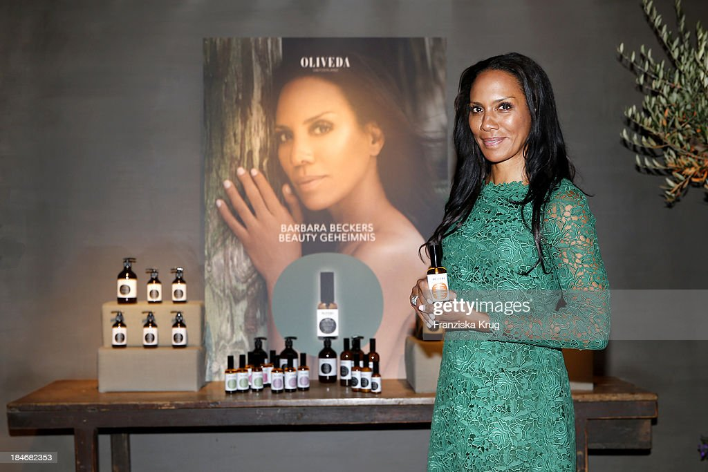 Barbara Becker (Brand Ambassador for OLIVEDA) poses at the OLIVEDA Launch Party at Bayerischer Hof on October 15, 2013 in Munich, Germany.