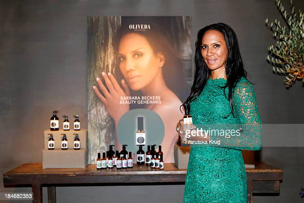 Barbara Becker poses at the OLIVEDA Launch Party at Bayerischer Hof on October 15 2013 in Munich Germany