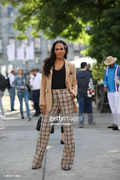 Barbara Becker wearing a complete Riani look on July 03, 2019 in Berlin, Germany.