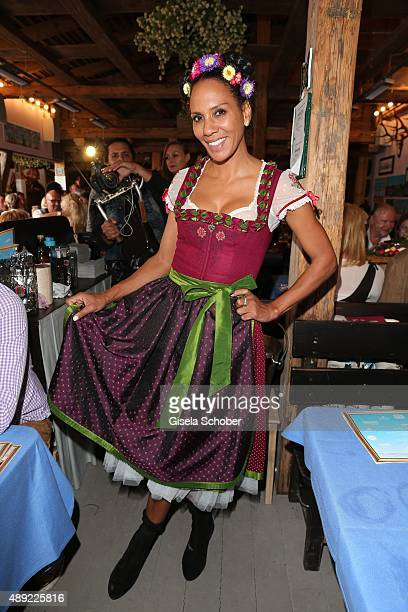 Barbara Becker wearing a dirndl by Sportalm during the Oktoberfest 2015 Opening at Kaeferschaenke beer tent at Theresienwiese on September 19 2015 in...