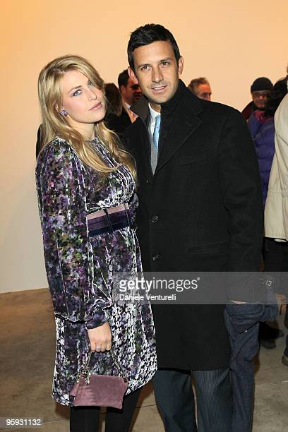 Barbara Berlusconi and Giorgio Valaguzza attend the Jorg Immendorff show at the Cardi Black Box Gallery on January 21 2010 in Milan Italy