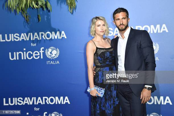 Barbara Berlusconi and Lorenzo Guerrieri attend the photocall at the Unicef Summer Gala Presented by Luisaviaroma at on August 09 2019 in Porto Cervo...