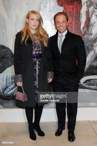 Barbara Berlusconi and Nicolo Cardi attend the Jorg Immendorff show at the Cardi Black Box Gallery on January 21 2010 in Milan Italy