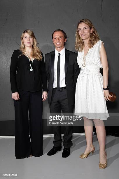 Barbara Berlusconi Nicolo Cardi and Martina Mondadori attend the Michal Helfman opening exhibition at the Cardi Black Box on April 15 2009 in Milan...