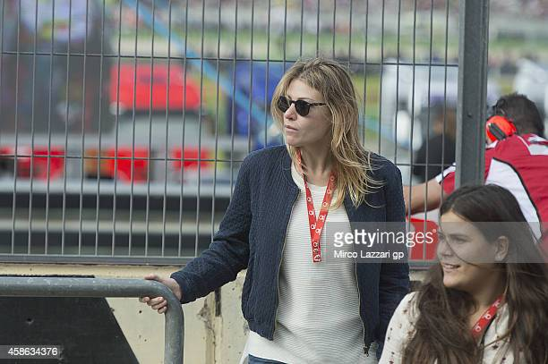 Barbara Berlusconi of Italy looks on in pit during the MotoGP of Valencia Qualifying at Ricardo Tormo Circuit on November 8 2014 in Valencia Spain