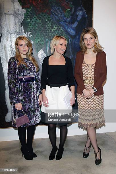 Barbara Berlusconi Sarah Cosulich and Martina Mondadori attend the Jorg Immendorff show at the Cardi Black Box Gallery on January 21 2010 in Milan...