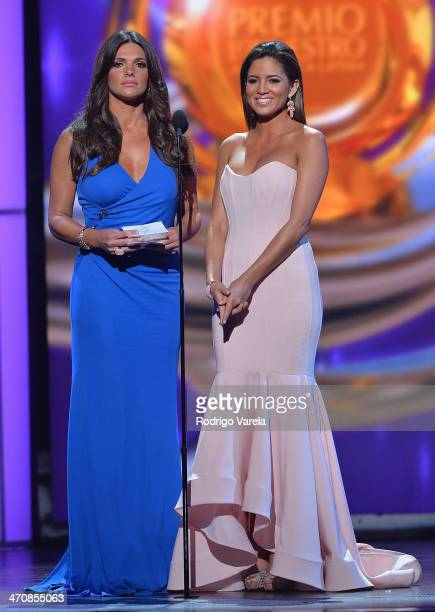 Barbara Bermudo and Pamela Silva Conde speak onstage at Premio Lo Nuestro a la Musica Latina 2014 at American Airlines Arena on February 20 2014 in...